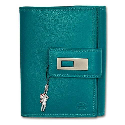 Geldbörse blau XL Brieftasche Portemonnaie Leder Old River großes Portmonee - DrachenLeder OPD701B (River Tri-fold Wallet)