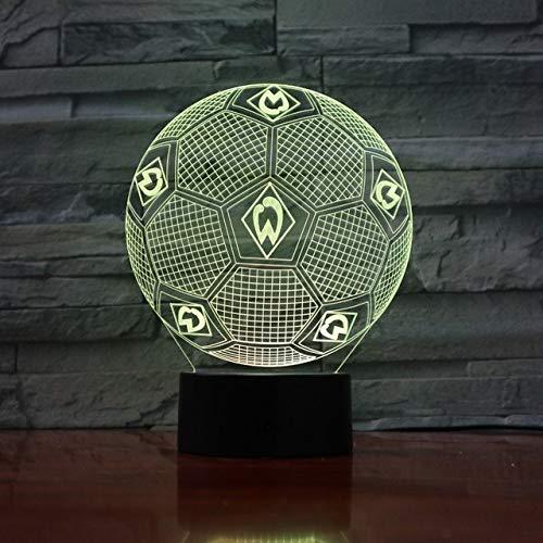 7 Farben Ändern 3D Illusion Lampe Sportverein Fußball Nachtlichter 3D Schreibtisch Licht Luminaria Werder Bremen Fußballlampe