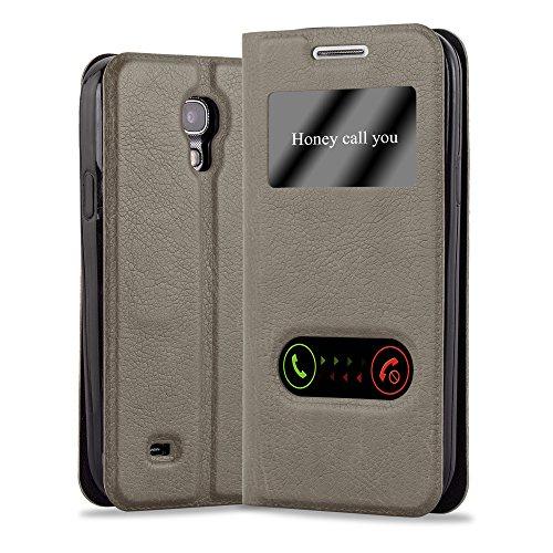 Preisvergleich Produktbild Cadorabo Hülle für Samsung Galaxy S4 Mini - Hülle in Braun – Handyhülle mit Standfunktion und 2 Sichtfenstern Design View- Case Cover Schutzhülle Etui Tasche Book Klapp Style