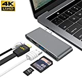 "GIKERSY USB C Hub for MacBook Pro 13"" & 15"" 2016/2017, Aluminum Type C to 4K HDMI Combo Hub Adapter, Charging Port, Thunderbolt 3 Port, MicroSD/SDHC/SDXC Card Reader, USB 3.0 Port, USB-C Port - Grey"