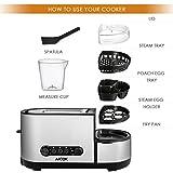 Aicok Toaster, 3 in 1 praktischer Automatik Toaster mit Eierkocher und elektrischee Pfannen, (1250 Watt, bis zu 7 Bräunungsstufen und 2 Brotscheiben, gebürsteter Edelstahl) - 6