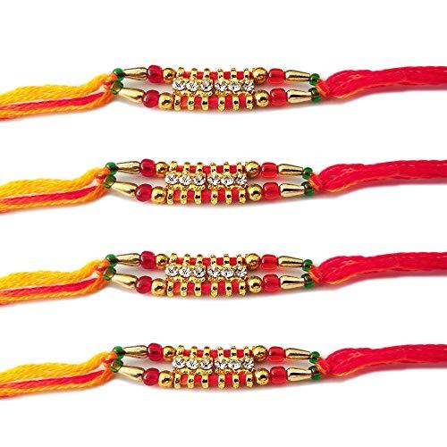 NYGT Designer Rakhi Set für Männer Vergoldet 6 Stein mit Perlen Mehrfarbenfaden Rakhi für Bruder/Bhaiya/Bhabhi/Bhai/Bro (4er Pack) Rakshabandan Armband