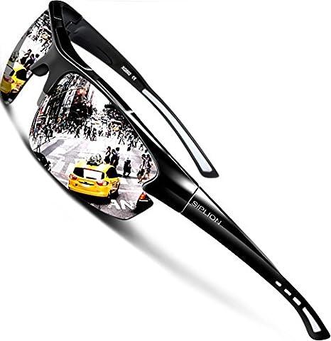 SIPLION Homme Sport Lunettes De Soleil Polarisé Protection UV400 Super léger Cadre 502 silver
