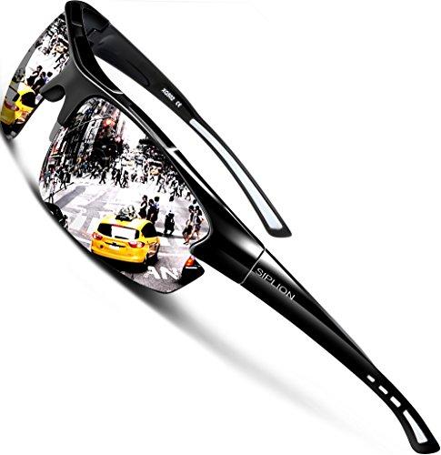 SIPLION Herren Sonnenbrille UV400 Schutz Polarisiert Superleichtes Rahmen 502 Silber (Sonnenbrille Lg)
