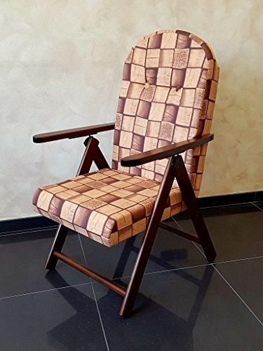 Poltrona sedia sdraio campania amalfi (marrone) in legno reclinabile 4 posizioni cuscino imbottito soggiorno cucina giardino salone divano