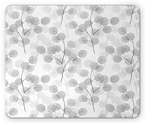 Nature Mouse Pad by, Soft Colored Bay Leaf Watercolor Branches Growth Essence Elegance Artsy Print, Standard Size Rectangle Non-Slip Rubber Mousepad, Light Grey White Essence-slip
