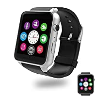 Bluetooth Smart Watch with Dual Card Slot and HD Camera,Evershop SIM Card Smart Watches with Heart Rate Monitor Touch Screen Bluetooth Sports Wrist Watch Phone for Android and IOS (Silver)