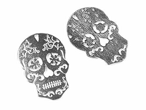 Halloween Anhänger Sugar Skull in silberfarben 2 Stück von Vintageparts DIY-Schmuck Schmuckanhänger Totenkopf Halloweenschmuck Halloweenaccessoire (Skull Kostüm Sugar Halloween)