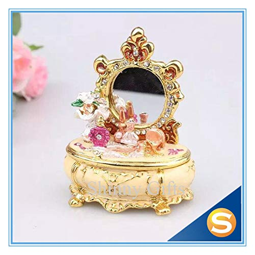 Ostern Emailliertes Ei Handwerk Ornament Handbemalt Stil Strass Schmuck Ring Ohrring Perle Schmuckschachtel Party Home Dekoration,Yellow-7 * 8CM -