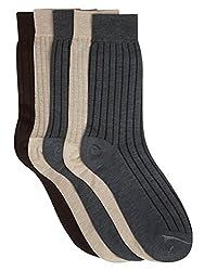 Calzini Mens Calf Microfibre with Pure-Silver Pack of 5 Pair Socks