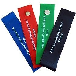 Bandas de resistencia - Bandas de resistencia tubulares - Bandas de estiramiento - Calidad de gimnasio - Bandas para fitness (ligera, media, fuerte, extra fuerte) Perfectas para yoga - Pilates - Resistencia - Para entrenar en movilidad - Juego completo de 4 bandas (30cm x 7.5 cm)