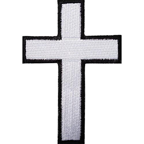 Weiß Kreuz bestickt Eisen/Nähen auf Patch T-Shirt Tasche Motorrad Jacke Badge