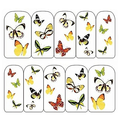 Born Pretty 1 Planche Water Decals Papillon Jaune #BOP/027