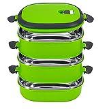 Lunchbox, Yosoo Tragbare Frischhaltebox Lebensmittelbehälter aus Edelstahl mit Griff für Essen, Aufbewahrungsbox für Lebensmittel (3 Etage, Grün)