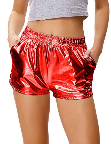 Für Kostüm Sechs Familie - Kate Kasin Shiny Metallic Hot Pants Lässige Lose Yoga Shorts Rot (862-6) Large