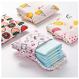 Sanitary Napkin Cotton Bag Case Pouch - Sanitary Pad Storage Organizer for Women and Girls - Portable Nursing Pad Holder -Reusable Washable Wet Bag for School Office Travel Outdoors