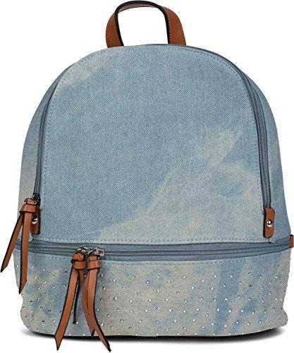 styleBREAKER Jeans Rucksack Handtasche mit Strass und Reißverschluss, Tasche, Damen 02012177, Farbe:Hellblau / Braun - Strass Besetzte Jeans