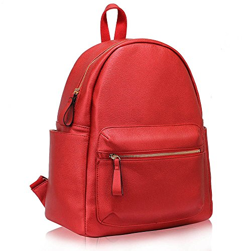 TrendStar Koolertron Rucksack SchultertascheKunstleder Schultertasche Damen Herren Camping Rucksack Rucksäcke Tasche für Laptop (A - Blau) A - Rot