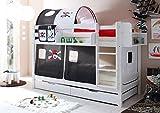 Etagenbett Jamie inkl Vorhang Kiefer massiv weiß EN 747-1 + 747-2 Stockbett Doppelbett Spielbett Kinderbett Bett Kinderzimmer Hochbett