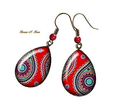 Boucles d'oreilles gouttes * Indian paisley * bronze cabochon rouge inde verre