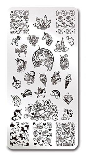 Einhorn Unicorn Stamping Schablone Platte Nailart Nails Nageldesign - Set Platten Konad