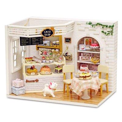 Zwei Wand-waschmaschinen-licht (Saint Kaiko Puppenhaus Holz Mini Haus Holz Handgefertigt DIY Dollhouse Kit Dollhouse Miniature Wohnzimmer mit LED-Licht Puppenhausmöbel Set für Geschenk)