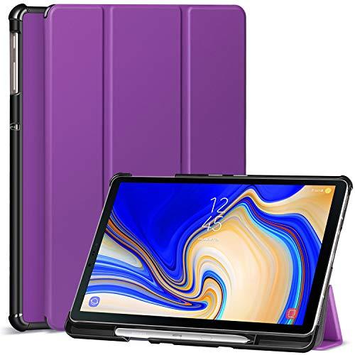 Ztotop Hülle für Samsung Galaxy Tab S4 10,5 2018 mit S Pen Halter,für Modell SM-T830/T835/T837,Leichtgewichts-Ultra Schlank Leder Hülle mit Ständer und Auto Schlaf/Aufwach Funktion,Lila