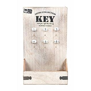 ArtiCasa Schlüsselkasten offen mit Fach, Vintage-Design, 6Haken nummeriert, 2Aufhänger, Größe22x37,5x8cm