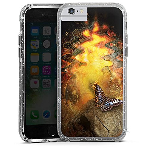 Apple iPhone 6s Bumper Hülle Bumper Case Glitzer Hülle Schmetterling Butterfly Art Bumper Case Glitzer silber