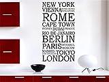 Wandtattoo internationale Städe weltweite Städtename M1583 creme 80cm x 44cm