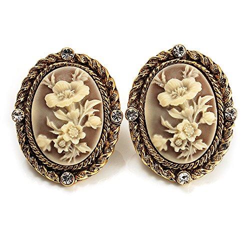 Kamee-Blumen Clip-Ohrringe in Antikem Gold
