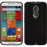 PhoneNatic Silikon Schutzhülle für Motorola Moto X 2014 2. Generation transparent/schwarz