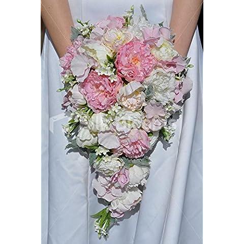 Colore: Avorio/Rosa, Stephanotis peonia ed ortensia, Cascade, motivo: Bouquet della sposa