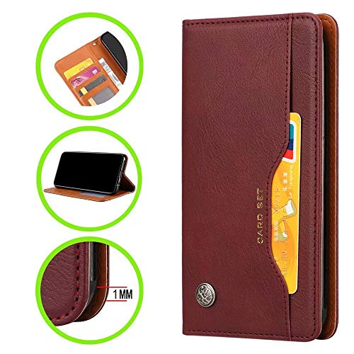 HUUH Case Compatible with Samsung Galaxy J4 Plus,Vintage leather,Bracket function,Card slot wallet design,strong durable,TPU+PU,Magnetic buckle(dark red)