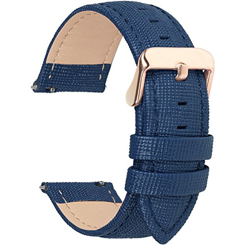 Fullmosa Uhrenarmband, Cross Serie Echtes Lederarmband Ersatzband Smart Watch Armband mit Edelstahl Metall Schließe 16mm Dunkelblau (Timex Womens Uhrenarmbänder)