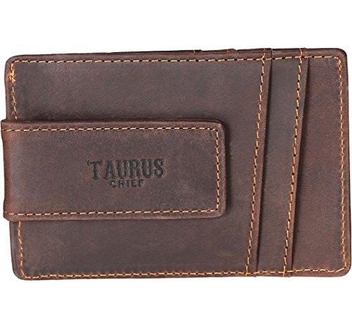 Ultradünne Geldbörse aus Echtleder. Mini Kreditkartenetui mit Geldklammer in braun. Kartenetui im stylischen Vintage Look mit extra Münzfach