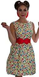 1950s Style Multicoloured Alphabet Print Ladies Dress - Silly Old Sea Dog - - Size 12