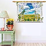 Zooarts 3d ventana Girasoles Paisaje Adhesivo de Pared Vinilo Adhesivos Decor Mural de Habitación