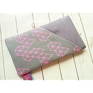 nelomi Handytasche Handyhülle mit Extrafach Dunkelgrau rosa/neon, maßgeschneidert für jedes Handymodell