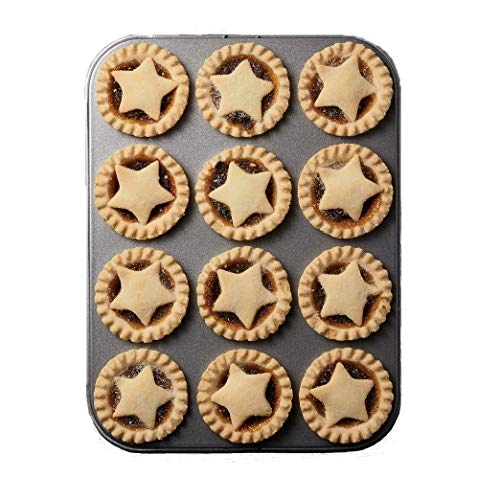 MasterClass 12-Hole Non-Stick Shallow Baking Tray / Mince Pie Tin, 32 x 24 cm