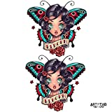 Tatuaggio Temporaneo Realistico di artista 'Old School butterfly Reborn girl x2' - ArtWear Tattoo Beauty – B9990 M