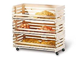 Küchenwagen Stapelkiste Aufbewahrungsbox Küche Keller Vorratsraum Rollen groß