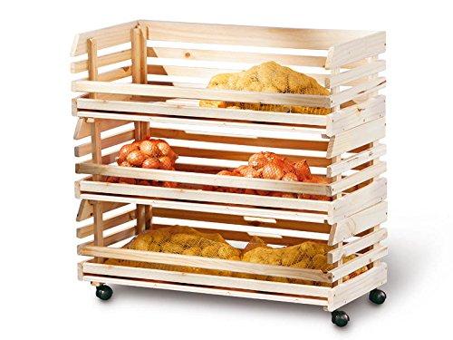 Inter Link 60100450 Küchenwagen Stapelkiste Aufbewahrungsbox Küche Keller Vorratsraum Rollen groß