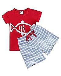 Boys Fish Print Tee & Long Shorts Set Red