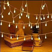 Uping EUSLAB100ww, Uping led Lichterkette 100 Globe Bälle AC EU-Stecker mit DC 31V Niederspannungstransformator und 8 Programm für Party, Garten, Weihnachten, Halloween, Hochzeit, Beleuchtung Deko in Innen und Außenbereich usw. Wasserdicht 12M warm weiß