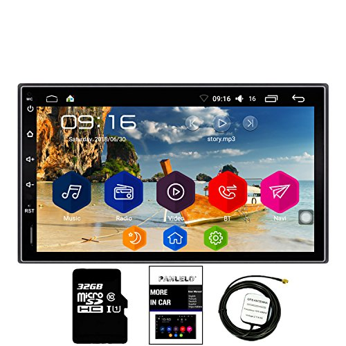 Panlelo® C10 Android 6.0 Autoradio | Quad Core 1GB+16GB + 32G SD Card Navigationsgerät, 2 din 7 Zoll Full HD Touchscreen Armaturenbrett-Einbau-Videogeräte Bluetooth WiFi Rückfahrkamera AM/FM/RDS Radio