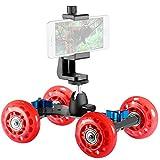 Neewer Stabilisateur à Roulette Chariot Mobile Slider Dolly sur Table Patineur Vidéo (Rouge) avec Porte-Smartphone et Rotule pour DSLR Caméra Caméscope, iPhone,Samsung etc