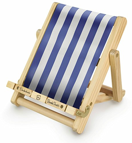 Deckchair Bookchair – Bookrest, eReader/iPad, Tablet Holder (diseño de elegir), color azul