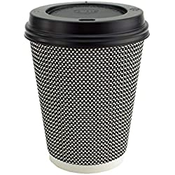 Ripple Hot Cups with Lids for Coffee and Takeaway Drinks - 50 Cups and 50 Lids - Triple Wall Insulated Disposable Cups and Black Leak Proof Lids - Mono Series Black and White Colour (8 oz)