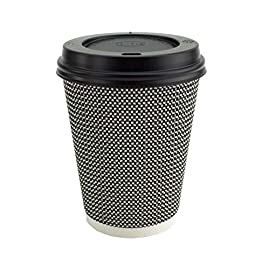 Ripple Hot Cups with Lids for Coffee and Takeaway Drinks – 50 Cups and 50 Lids – Triple Wall Insulated Disposable Cups and Black Leak Proof Lids – Mono Series Black and White Colour (8 oz)